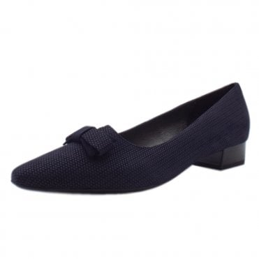 Leah Pointed Toe Low Heel Courts in Navy Corn