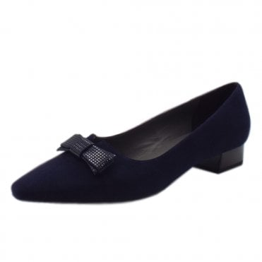 Leah Pointed Toe Low Heel Courts in Notte Suede