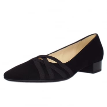 Liesel Black Suede Low Heel Pumps with cross-over straps