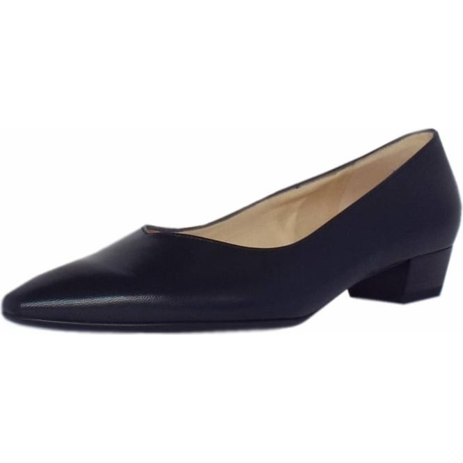 Limba Navy Leather Pointy Toe Low Heel Pumps