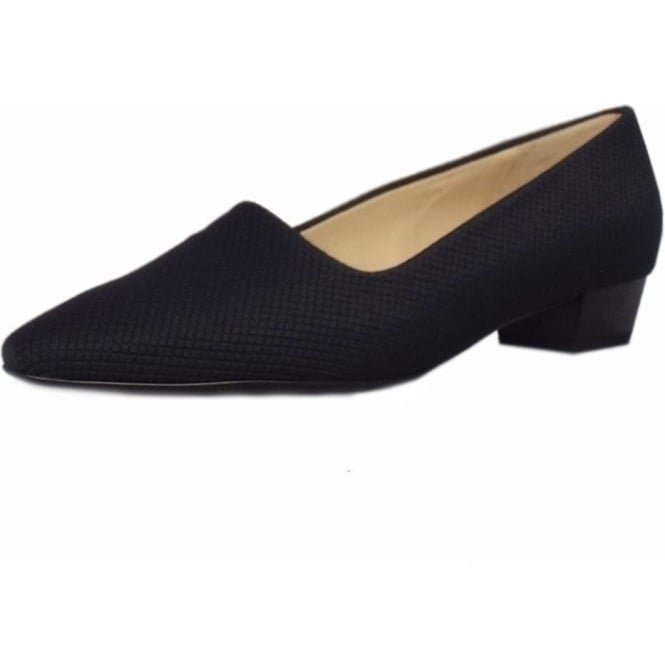 Lisana Navy Textile Pointy Toe Low Heel Pumps