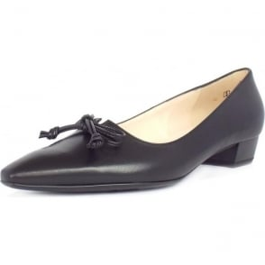 Lizzy Black Leather Pointed Toe Ballet Pumps