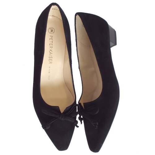dd25e541936 Lizzy Black Suede Low Heel Pointed Toe Pumps