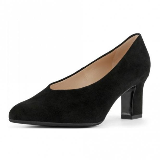 Mahirella Classic Mid Heel Court Shoes in Black Suede