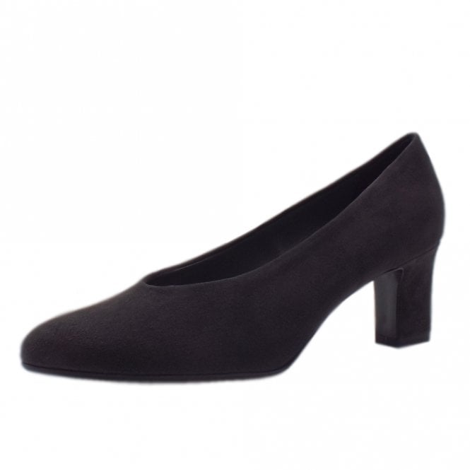 Mahirella Classic Mid Heel Court Shoes in Carbon Suede