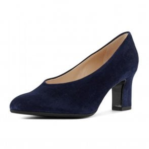 Mahirella Classic Mid Heel Court Shoes in Navy Suede