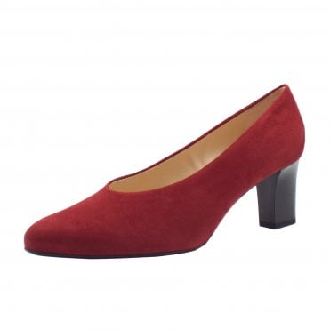 Mahirella Classic Mid Heel Court Shoes in Ruby Suede