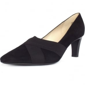 Malana Black Suede Medium Heel Pumps
