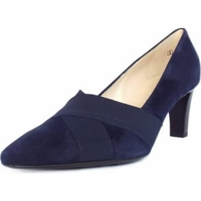 Malana Notte Navy Suede Medium Heel Pumps