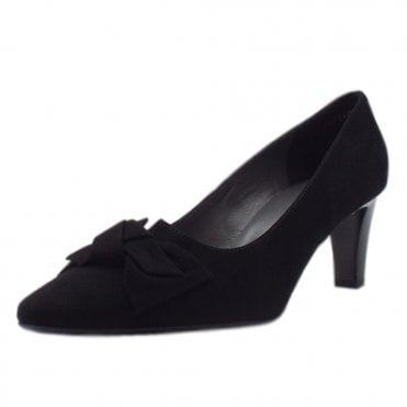 Mallory Black Suede Mid Heel Pointy Pumps