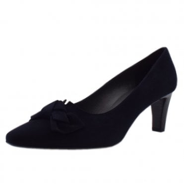 Mallory Navy Suede Mid Heel Pointy Pumps