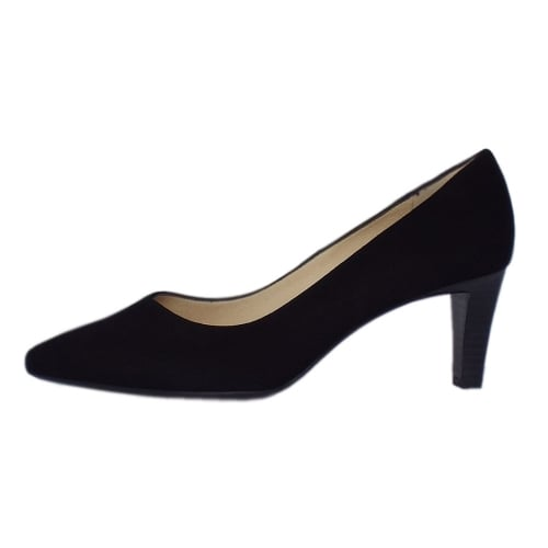 cc570e402c6 ... Mani Classic Semi-Pointed Mid Heel Court Shoes in Black Suede ...