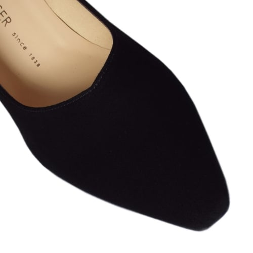 e34bf57f500 ... Mani Classic Semi-Pointed Mid Heel Court Shoes in Black Suede ...