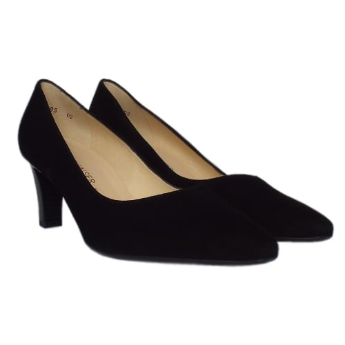 e05f193ac18 ... Mani Classic Semi-Pointed Mid Heel Court Shoes in Black Suede. ‹