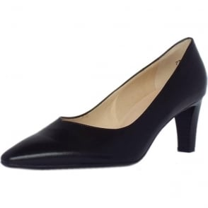 Mani Classic Semi-Pointed Mid Heel Court Shoes in Black Leather