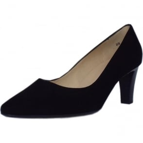 Mani Classic Semi-Pointed Mid Heel Court Shoes in Black Suede