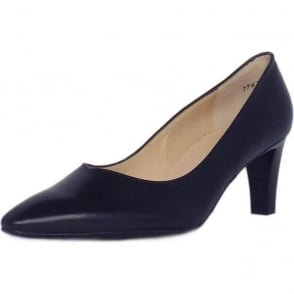 Mani Navy Leather Semi-Pointed Mid Heel Pumps