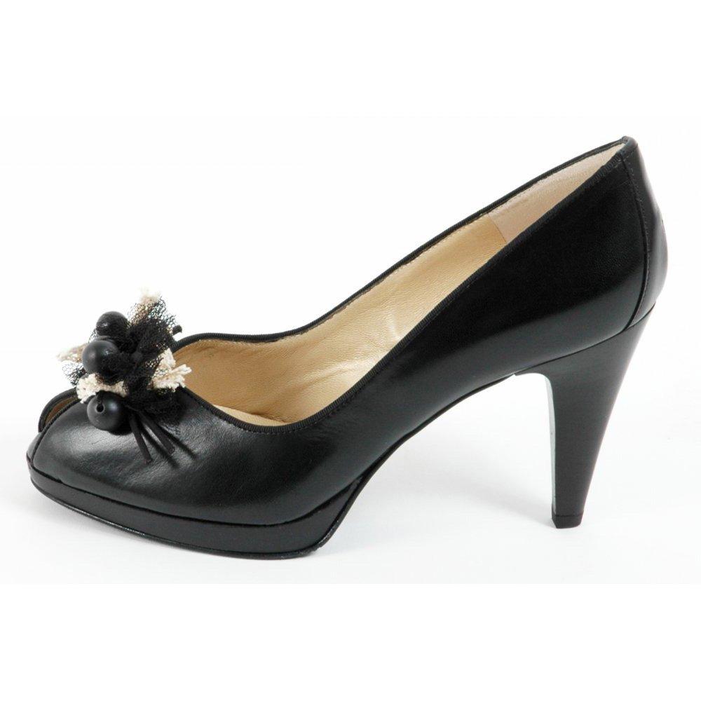 kaiser manja peep toe shoes in black