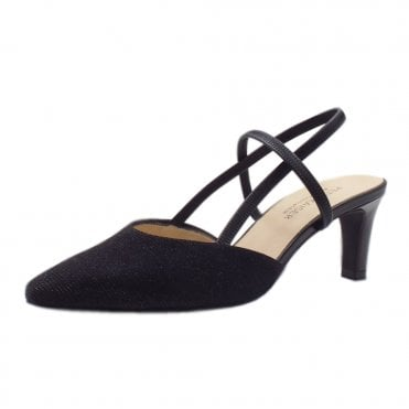 Mitty-A Black Shimmer Dressy Sling Back Pumps