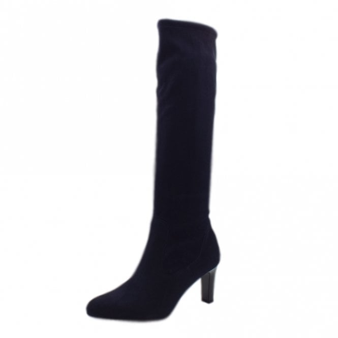 Monja Navy Stretch Suede Pull On Boots