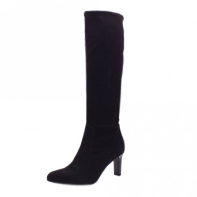 Monja Pull On Stretch Suede Knee High Boots in Black