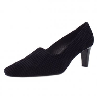 Mova Classic Mid Heel Court Shoes in Black Nico