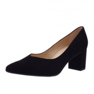 Naja Black Suede Block Heel Fashionable Pumps
