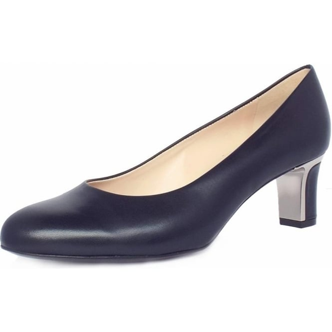 Nikki Navy Chevro Leather Mid Heel Pumps