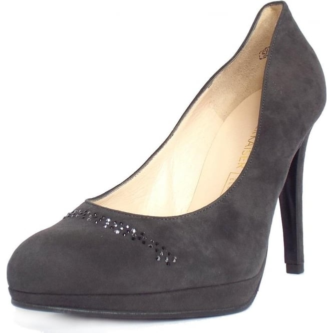 Ladies High Heel Court Shoes in Carbon Grey
