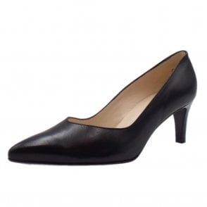 Nura Classic Court Shoes in Black Leather