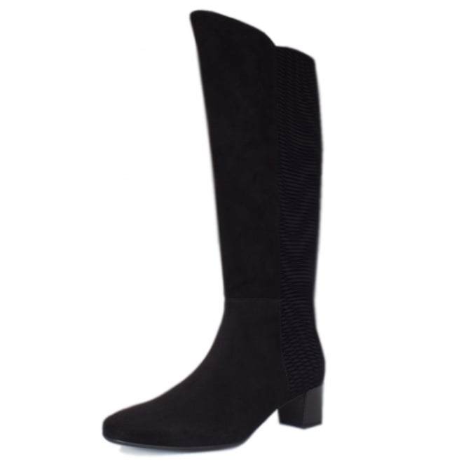 Olara Pull On Stretch Suede Knee High Boots in Black Nico