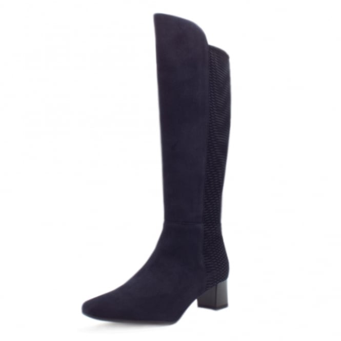 Olara Pull On Stretch Suede Knee High Boots in Navy Nico