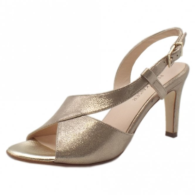 Oprah Taupe Luz Shimmering Suede Sandals