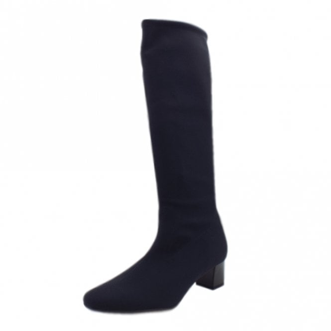 Oswana Pull On Knee High Boots in Navy Stretch