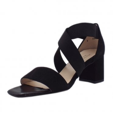 Paige Black Suede Evening Sandals With Mid Heel