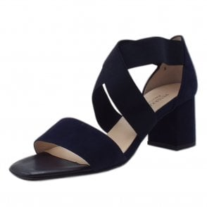 Paige Notte Suede Evening Sandals With Mid Heel