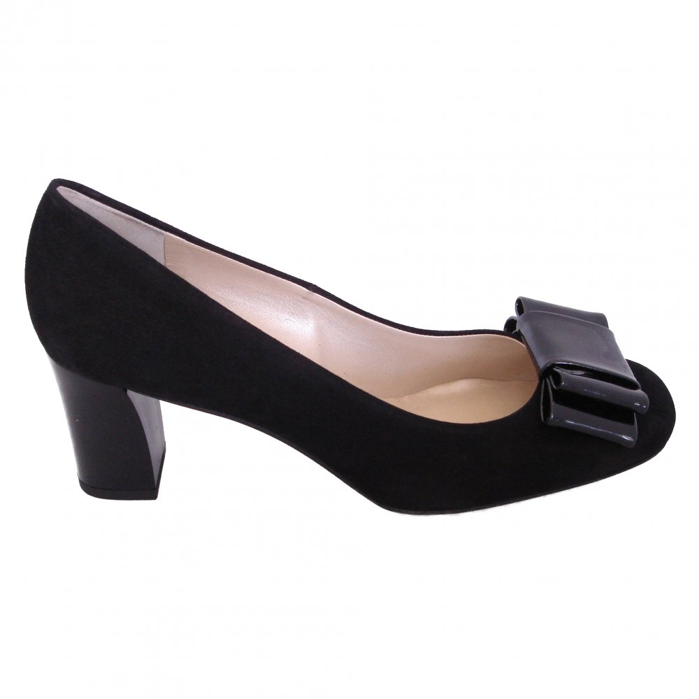 kaiser pallau dressy black suede court shoes with