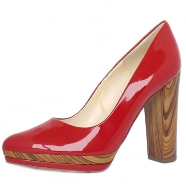 Adelheid Red Vit Patent Block Heel Fashionable Pumps