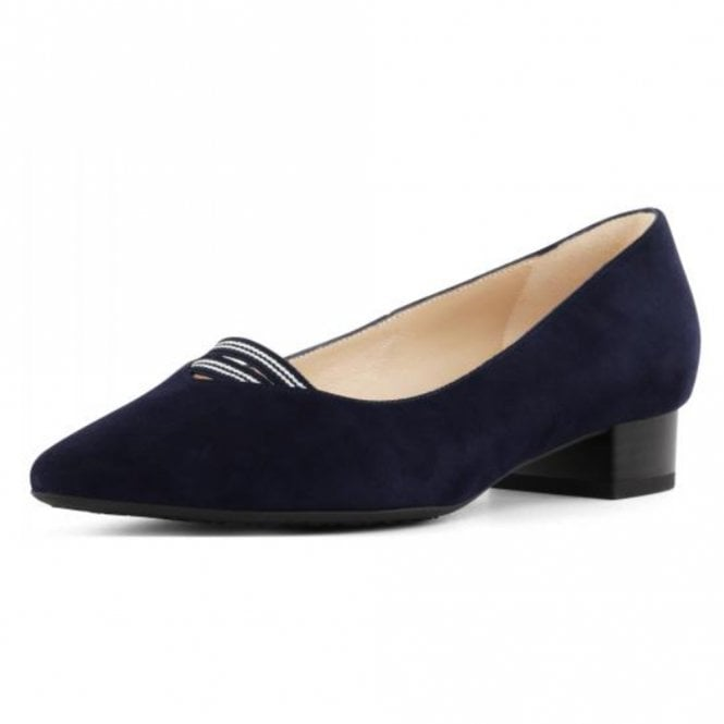 Adine Low Heel Pump in Notte Suede