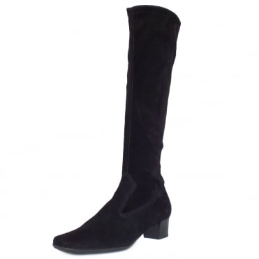 Aila Black Stretch Suede Pull On Boots