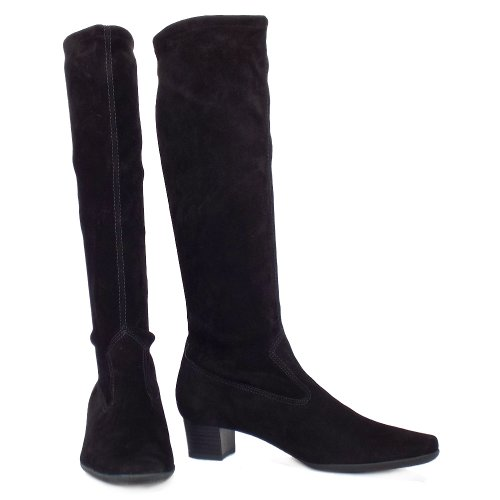 Peter Kaiser UK | Aila | Black Stretch Suede Pull On Knee High Boots