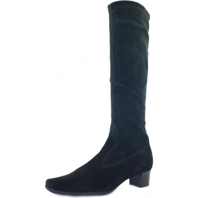 Aila Bottle Green Stretch Suede Pull On Boots
