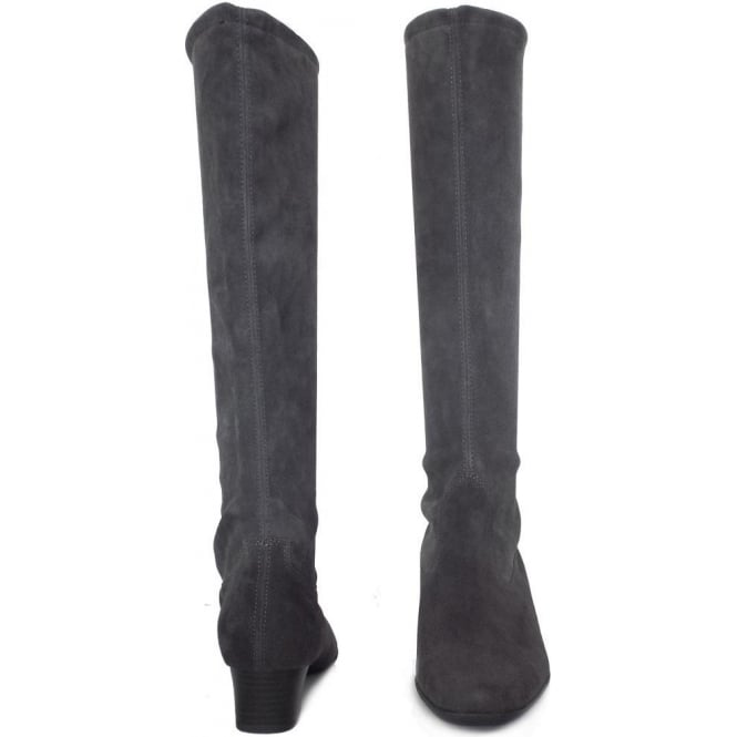Stretch Suede Boots | Carbon Grey