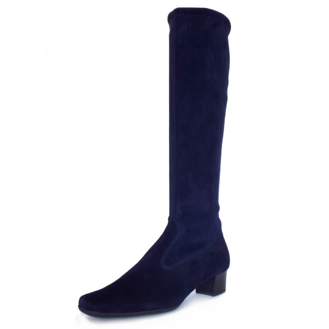 Aila Navy Stretch Suede Pull On Boots
