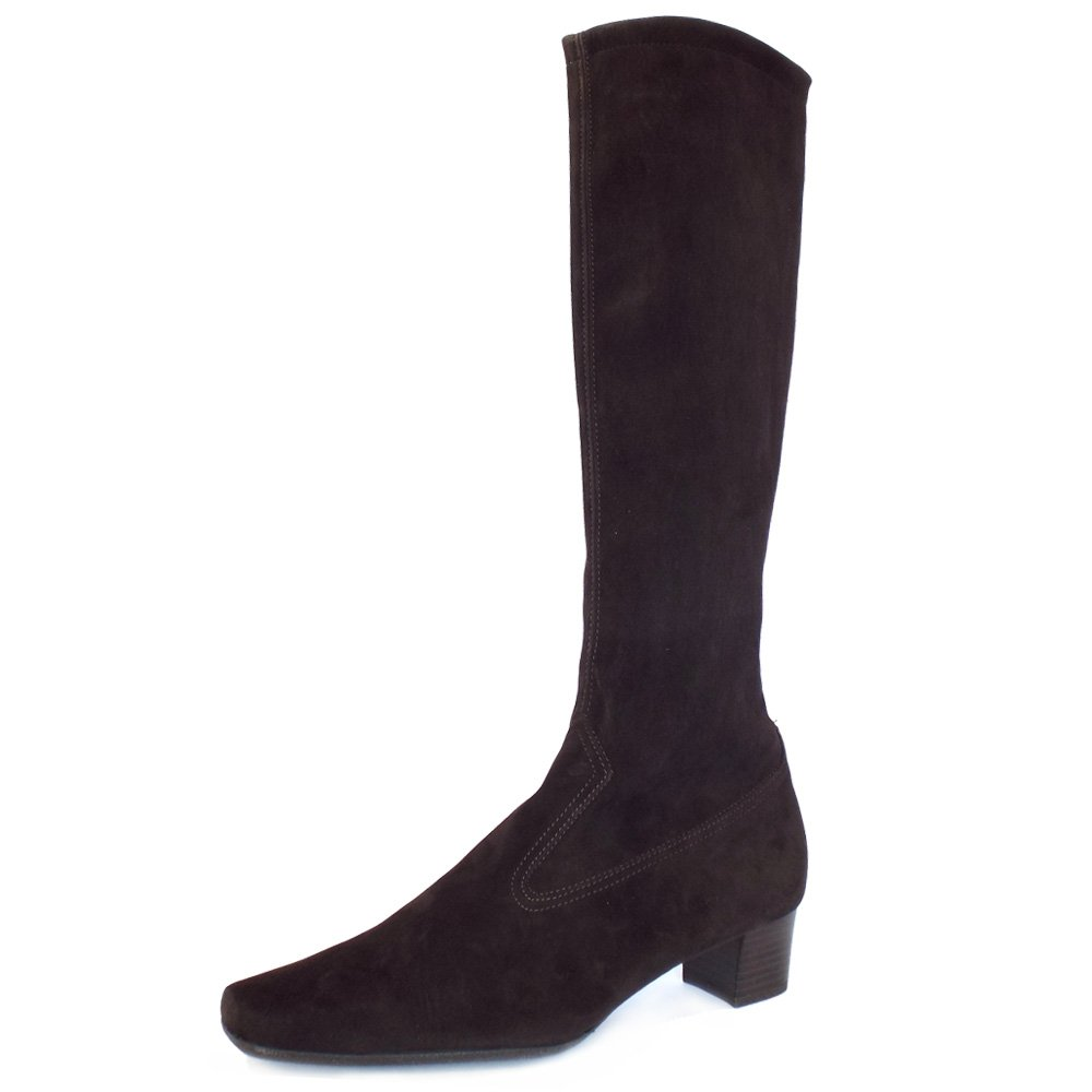 kaiser uk aila brown stretch suede pull on knee
