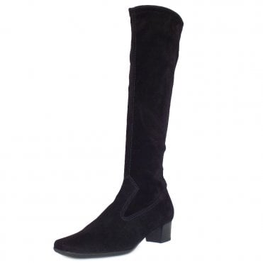 Aila Pull On Stretch Knee High Boots in Black Suede
