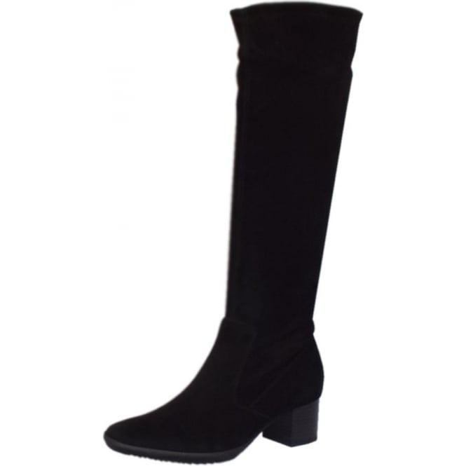 Ailo Black Stretch Suede Pull On Boots
