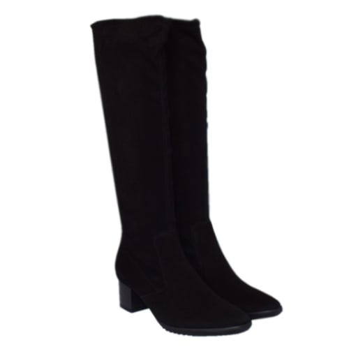 ... Ailo Black Stretch Suede Pull On Boots ... fe1f33b69