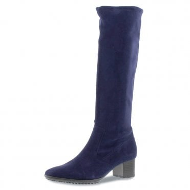 Ailo Pull On Stretch Suede Knee High Boots in Navy