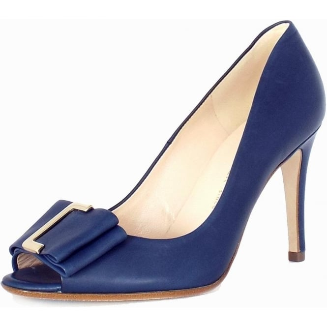 Akira Opal Blue Peep Toe Stiletto Pumps